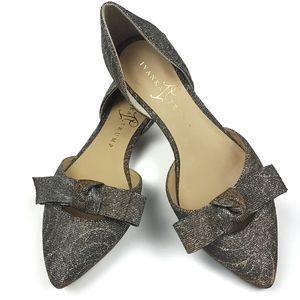 Ivanka Trump Loire d'Orsay Bow Glitter Flat Shoes